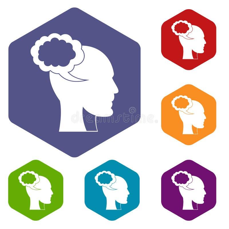 A bolha do discurso com ícones da cabeça humana ajustou o hexágono ilustração royalty free