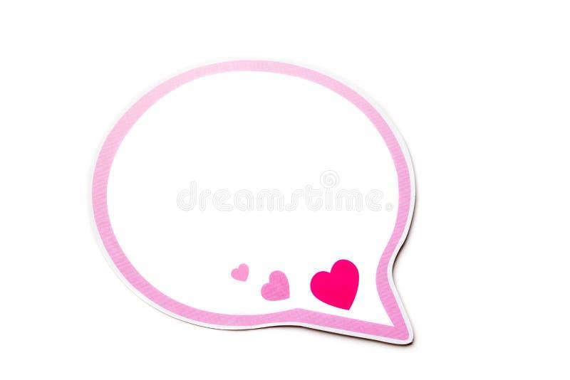 Bolha do discurso com corações cor-de-rosa e a beira isolados no fundo branco Copie o espaço imagem de stock royalty free