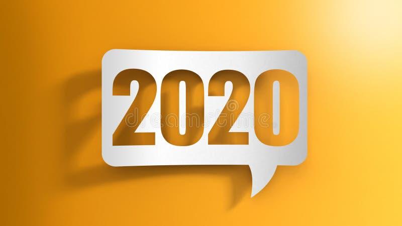 Bolha do discurso com 2020 ilustração do vetor