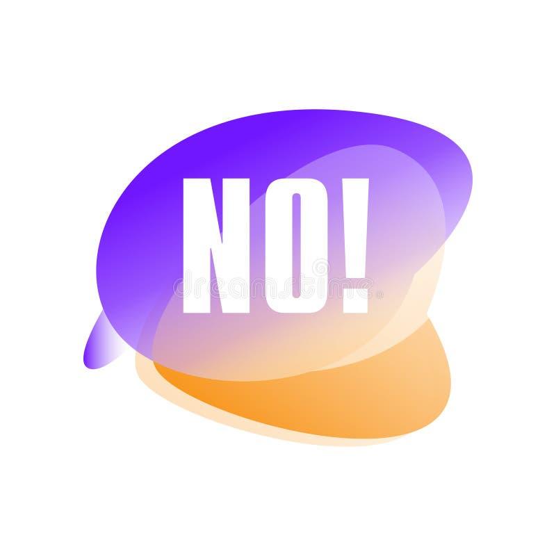 Bolha do discurso com o texto nenhum Resposta negativa rejeção Etiqueta que mostra a demissão ou a recusa da proposta Engrena o í ilustração royalty free