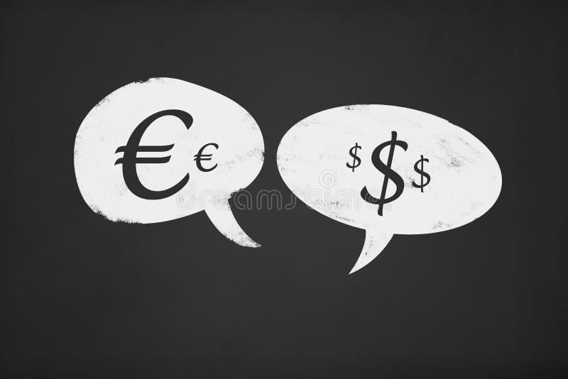 Bolha do discurso com placa de giz do Euro e do dólar ilustração royalty free