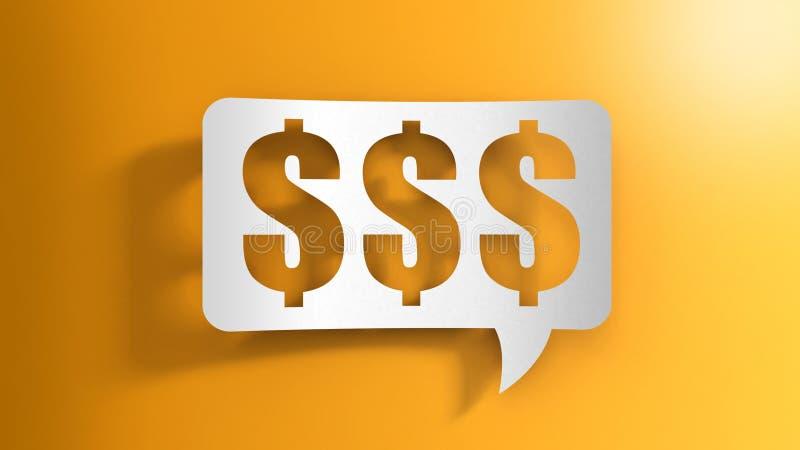 Bolha do discurso com sinais de dólar ilustração do vetor