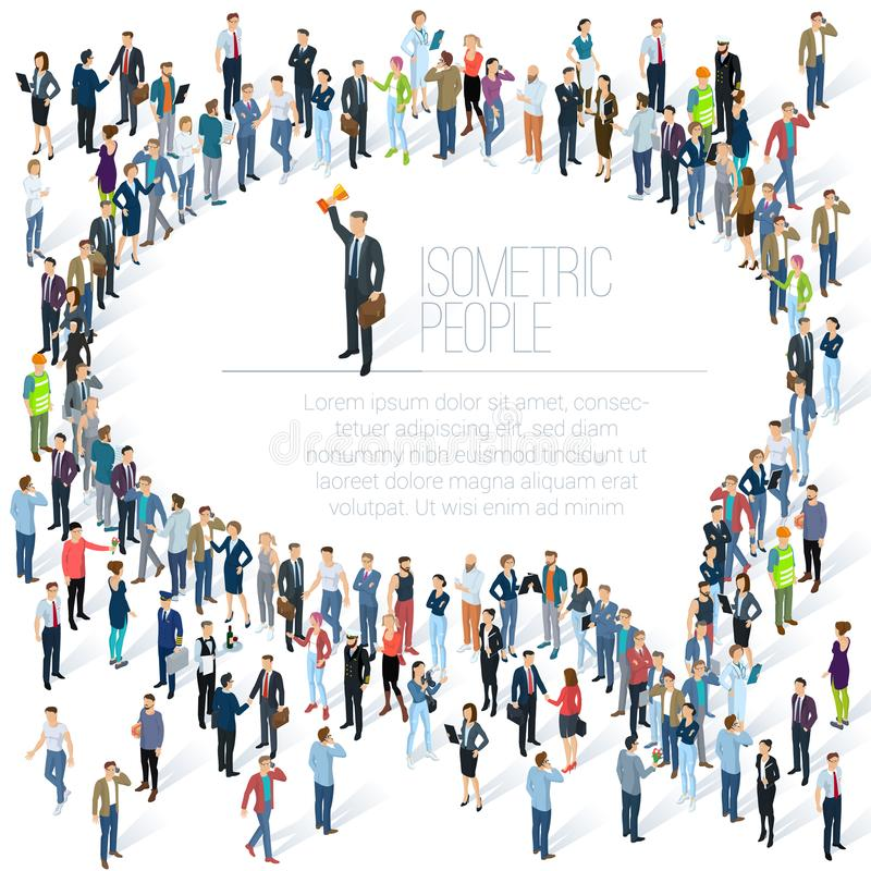 Bolha do discurso do comentário da multidão dos povos ilustração do vetor