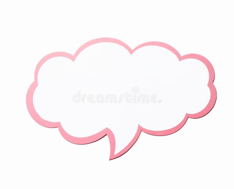 Bolha do discurso como uma nuvem com a beira cor-de-rosa isolada no fundo branco Copie o espaço fotografia de stock