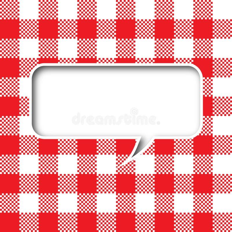 Bolha do discurso da textura do Tablecloth ilustração royalty free