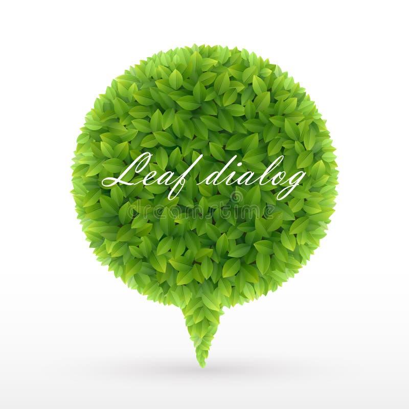 Bolha do discurso das folhas verdes ilustração stock