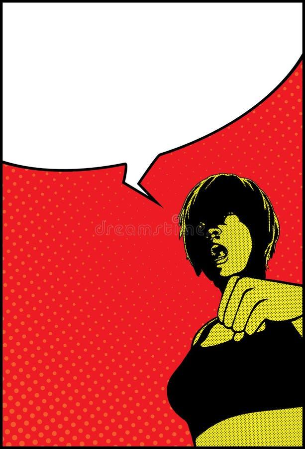 Bolha do discurso de Art Shocked Surprised Girl With do PNF ilustração stock