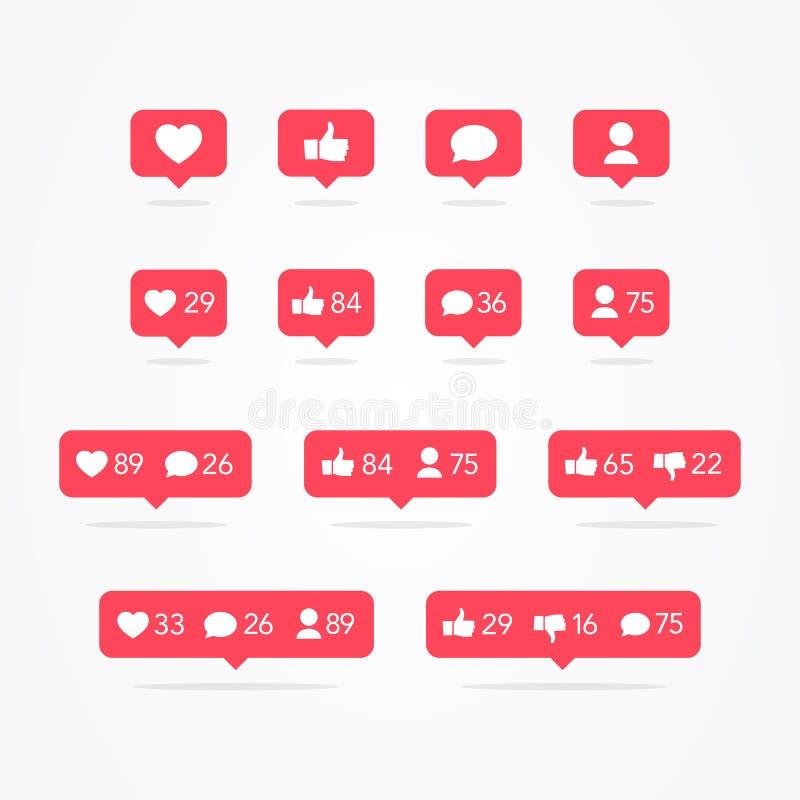 Bolha do discurso de Tooltip do vetor como, ao contrário de, seguidor, comentário, notificação, coração, grupo do ícone do usuári ilustração do vetor