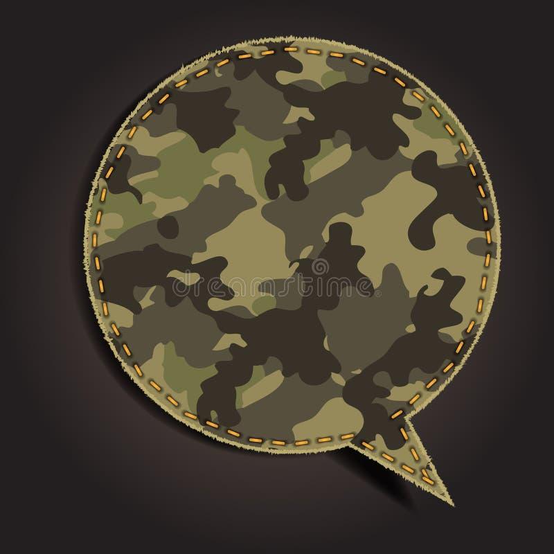 Bolha do discurso do vetor do teste padrão da tela da camuflagem ilustração stock