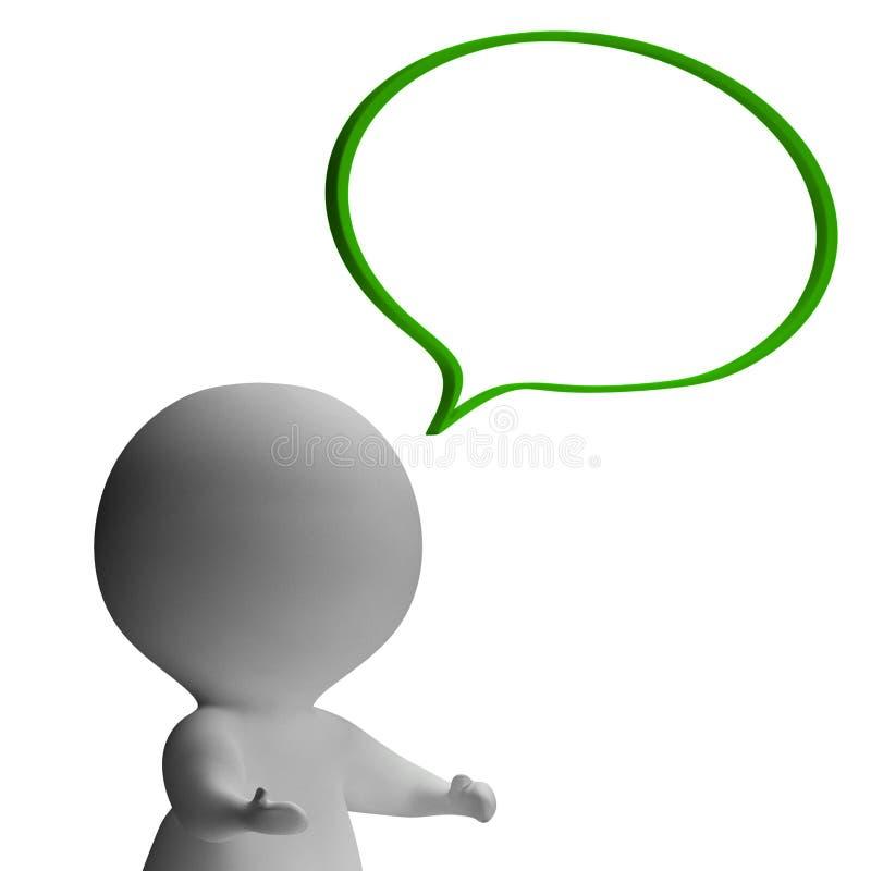 Bolha do discurso e caráter 3d que mostram o discurso ou o anúncio ilustração stock