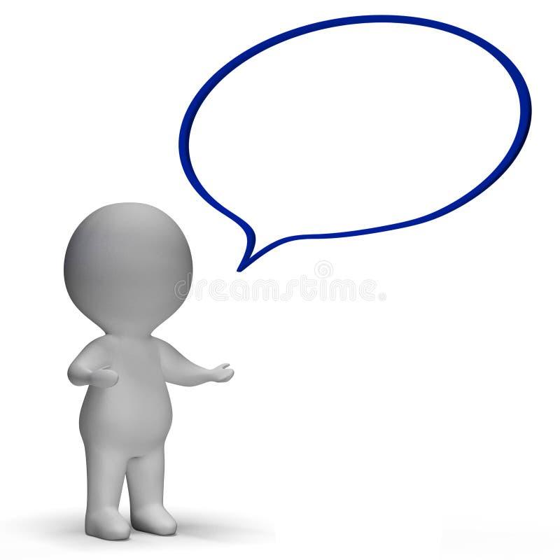 A bolha do discurso e o caráter 3d significam o discurso ou o anúncio ilustração do vetor