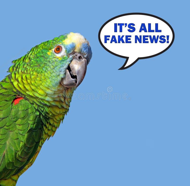 Bolha do discurso do papagaio que diz a notícia falsificada imagens de stock