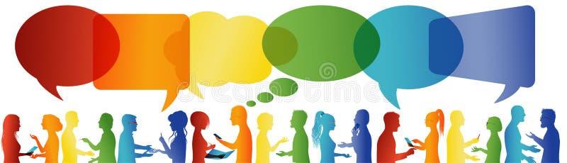 Bolha do discurso Uma comunica??o entre o grande grupo de pessoas que fala Fala da multid?o Comunique trabalhos em rede sociais d ilustração stock