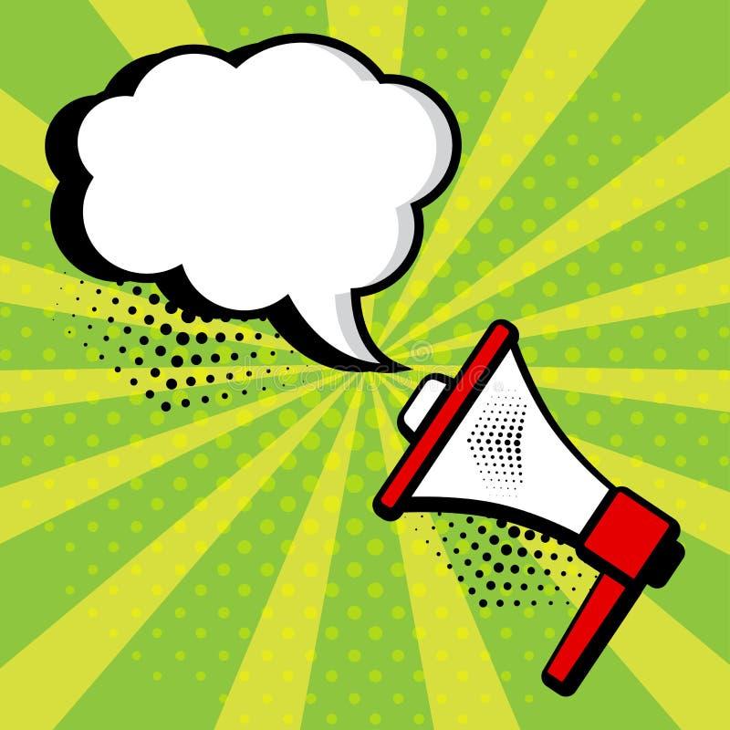 Bolha do megafone e do discurso no fundo verde no estilo do pop art Vetor ilustração stock