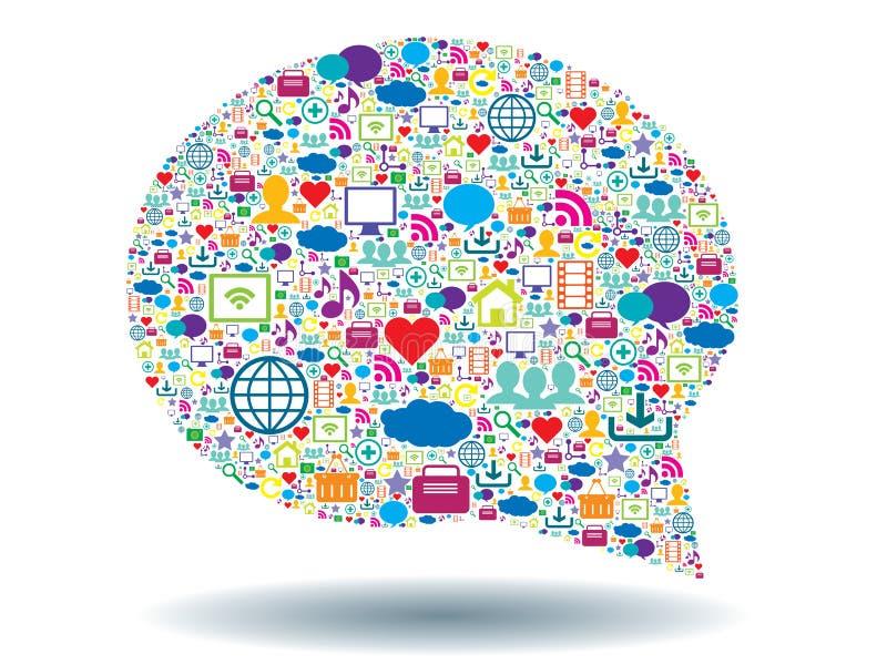 Bolha do pensamento e meios sociais ilustração stock