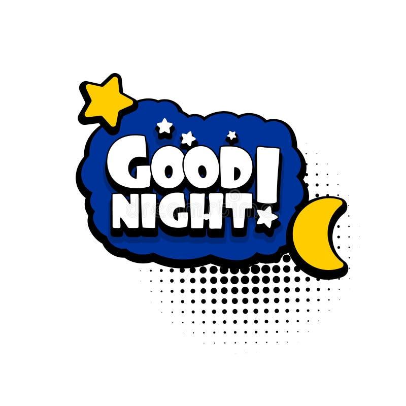 Bolha do texto da banda desenhada que anuncia a boa noite ilustração do vetor