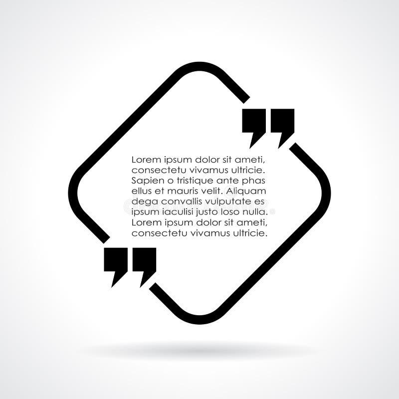 Bolha do texto das citações ilustração do vetor