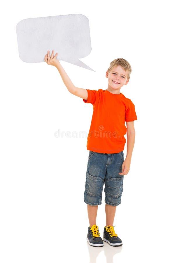 Bolha do texto do menino foto de stock royalty free