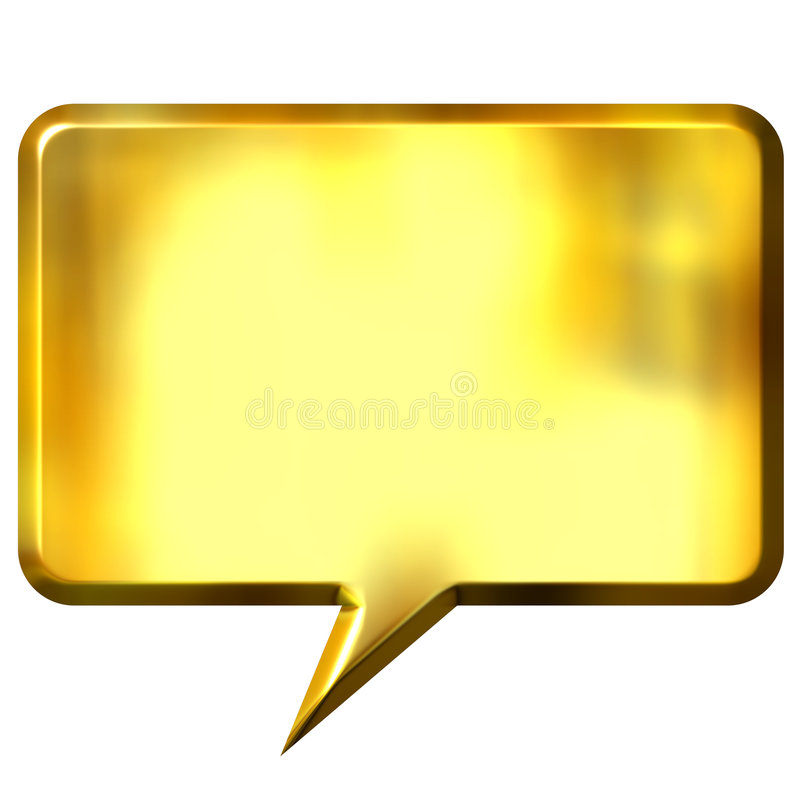 bolha dourada do discurso 3D ilustração do vetor