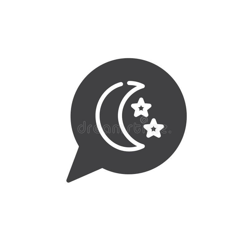 Bolha ideal do discurso com vetor do ícone da lua e das estrelas ilustração do vetor