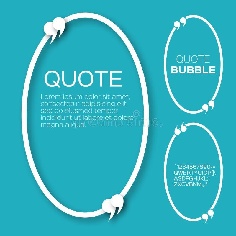 Bolha oval das citações ilustração stock