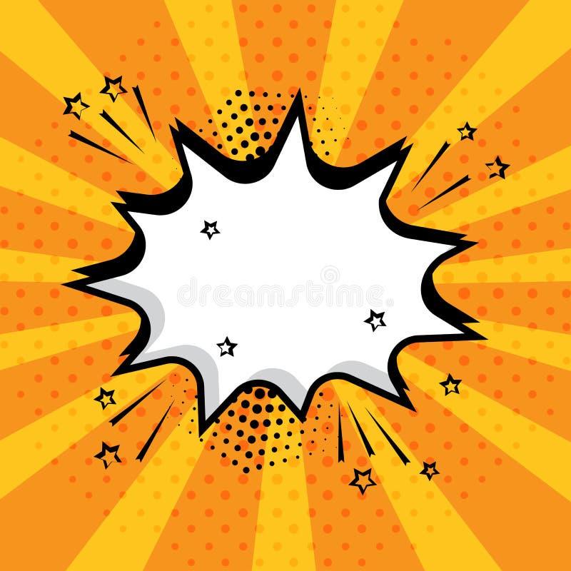 Bolha vazia branca do discurso com estrelas e pontos no fundo alaranjado Efeitos sadios cômicos no estilo do pop art Ilustração d ilustração stock