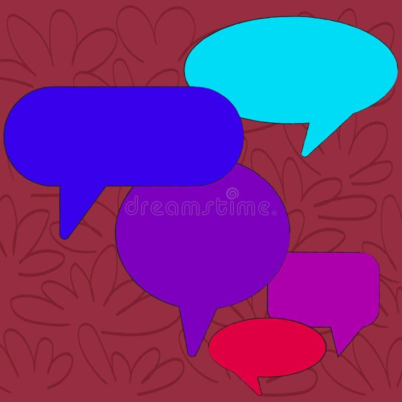 Bolha vazia colorida do discurso de muitas formas diferentes Bal?o do texto em v?rios tamanhos e em m?scaras Ideia criativa do fu ilustração do vetor