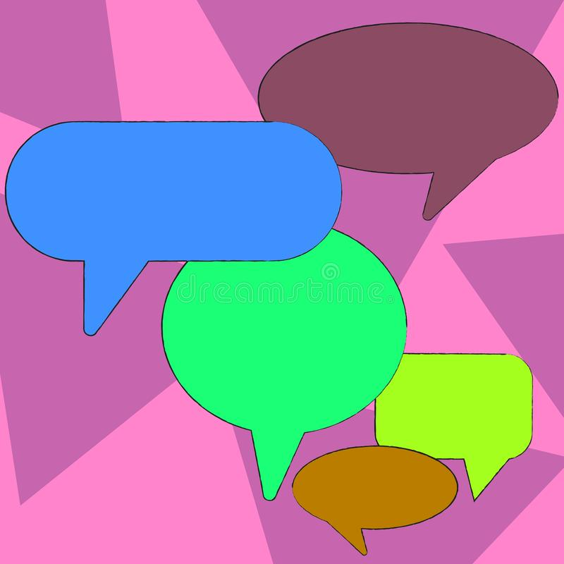 Bolha vazia colorida do discurso de muitas formas diferentes Bal?o do texto em v?rios tamanhos e em m?scaras Ideia criativa do fu ilustração royalty free