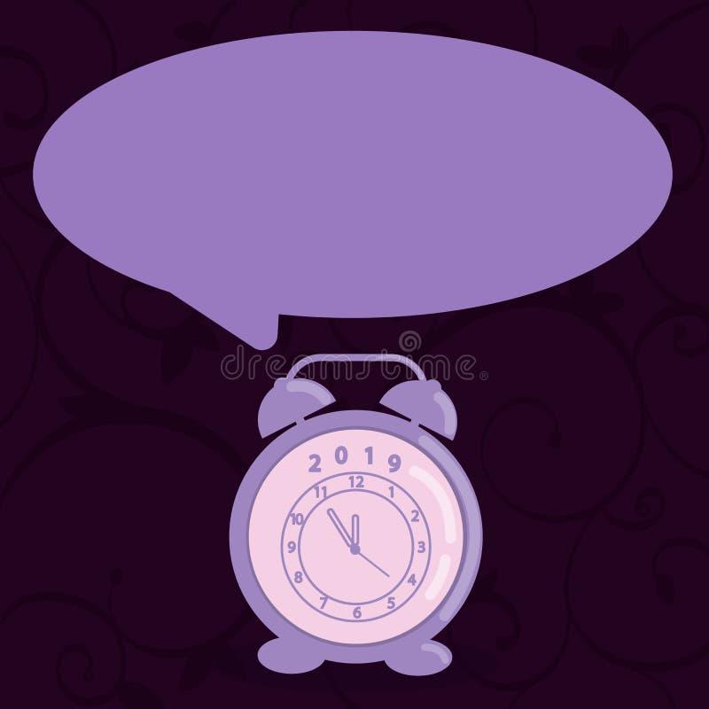 Bolha vazia do discurso da forma redonda e despertador análogo na máscara pastel Relógio de Pale Color Text Balloon e da tabela ilustração do vetor