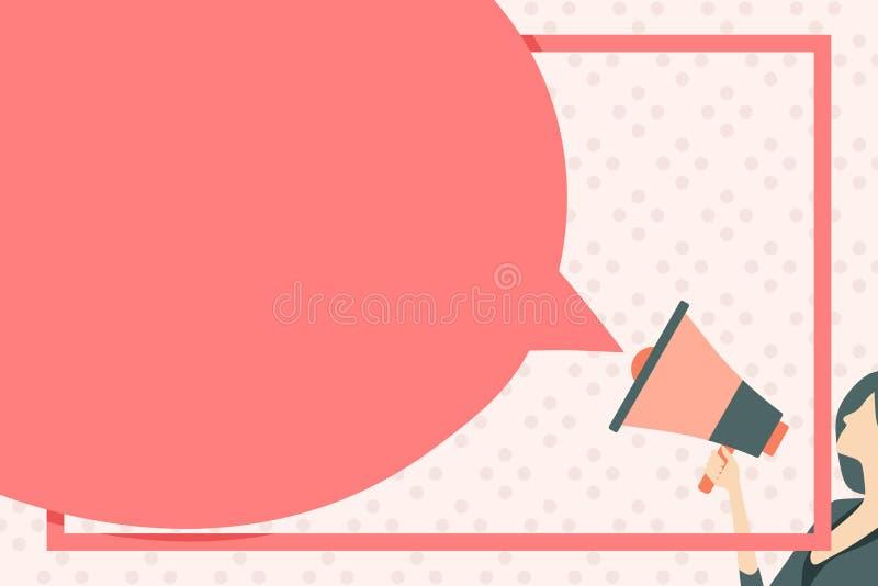 Bolha vazia enorme do discurso em volta da forma Megafone colorido da terra arrendada magro da mulher Ideia criativa do fundo par ilustração do vetor
