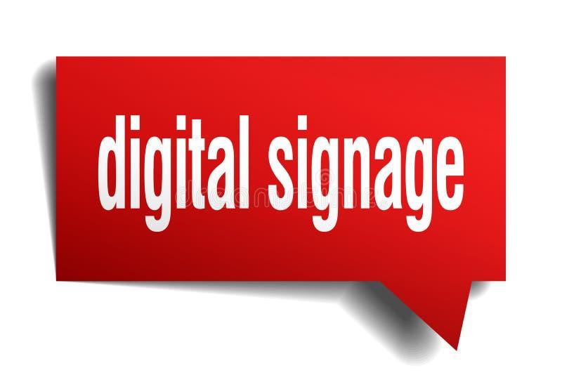 Bolha vermelha do discurso 3d do signage de Digitas ilustração stock
