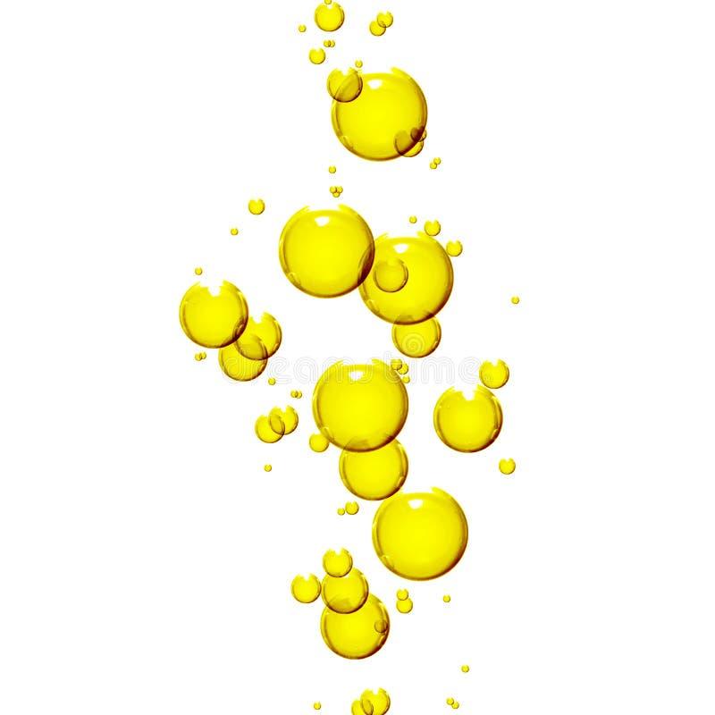 Bolhas óleo ou soro no fundo branco ilustração royalty free