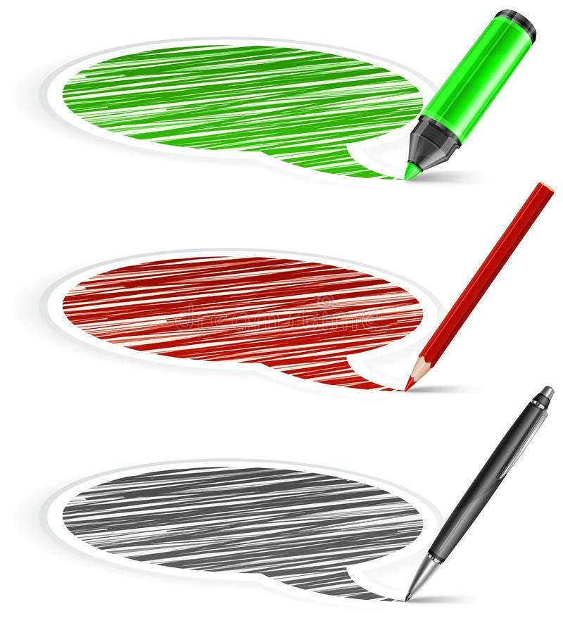 Bolhas & lápis do discurso ilustração royalty free