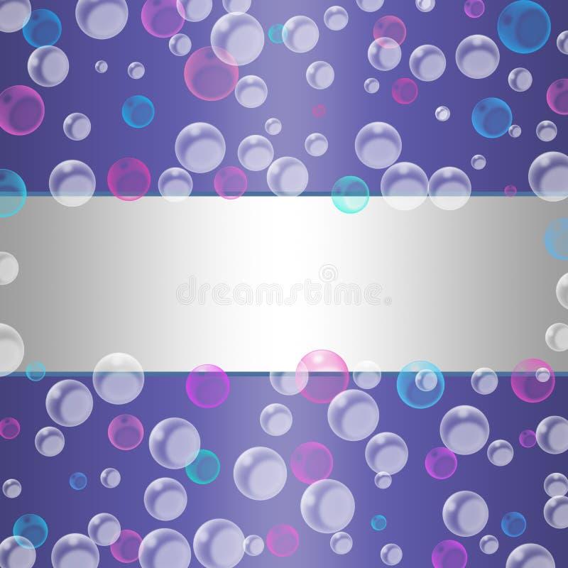 Bolhas azuis, cor-de-rosa e brancas da flutuação do sumário no fundo roxo brilhante ilustração stock