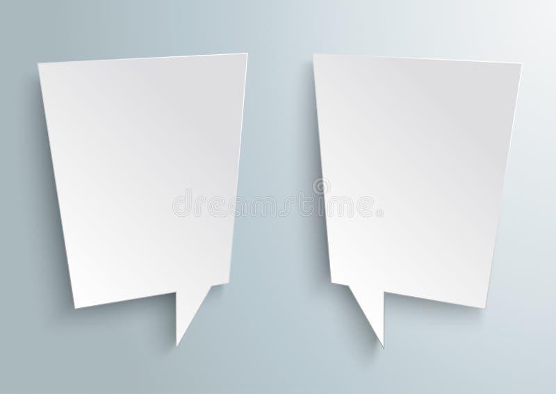 2 bolhas brancas abstratas do discurso ilustração stock