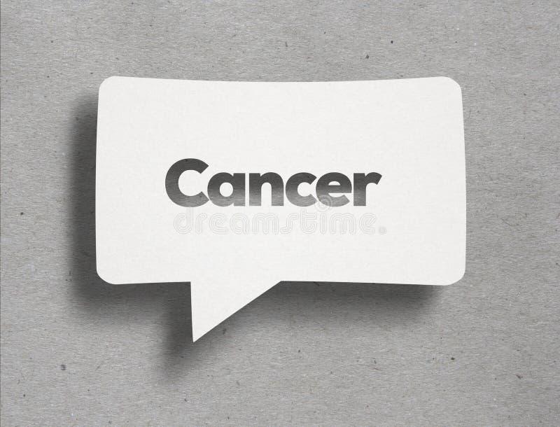 Bolhas brancas do bate-papo com texto do câncer imagem de stock