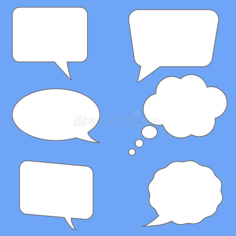 Bolhas brancas do discurso no fundo azul Estilo liso Bolhas vazias vazias do discurso para seu texto símbolo ajustado das bolhas  ilustração royalty free