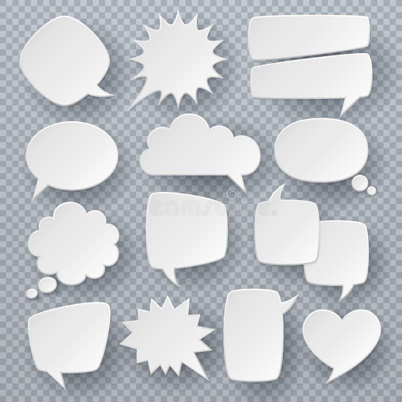 Bolhas brancas do discurso Símbolos pensados da bolha do texto, formas borbulhantes do discurso do origâmi Grupo cômico retro do  ilustração stock
