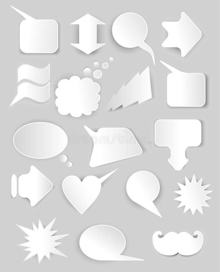 Bolhas brancas do discurso ilustração do vetor