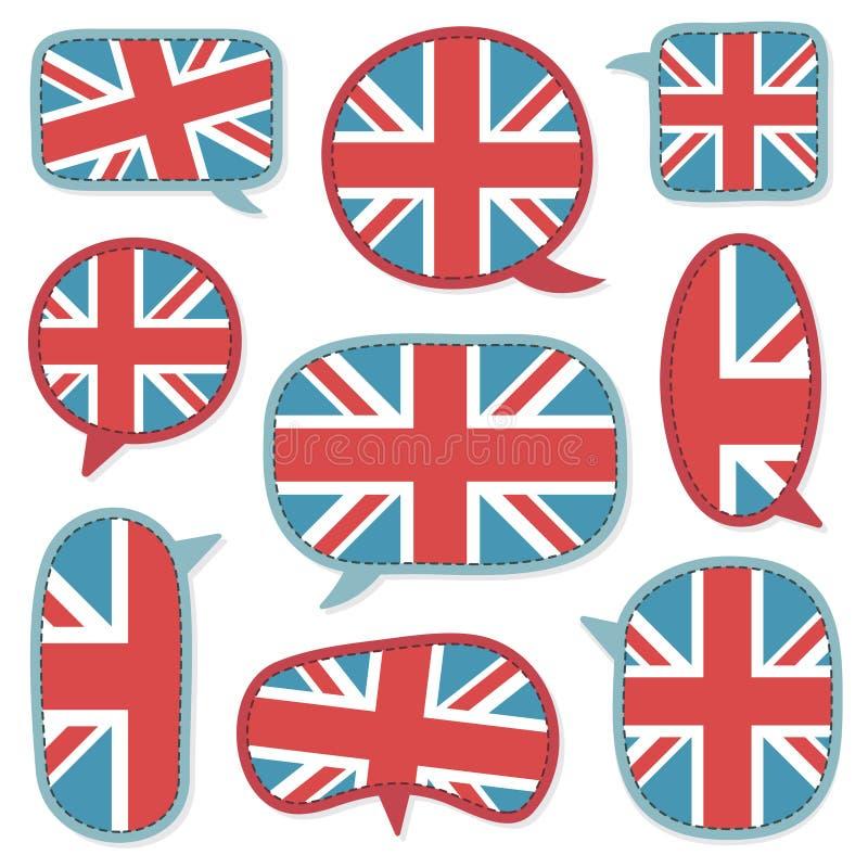 Bolhas britânicas do discurso ilustração do vetor