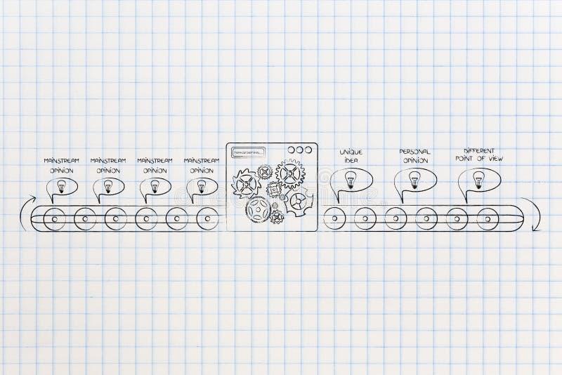 Bolhas cômicas de giro da opinião do grosso da população da máquina da fábrica no un ilustração do vetor
