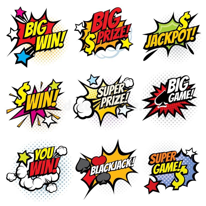 Bolhas cômicas do pop art do vintage com grupo de vencimento de jogo do vetor das palavras ilustração royalty free