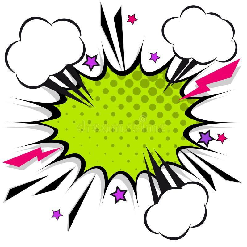 Bolhas cômicas retros do discurso do projeto Explosão instantânea com nuvens ilustração royalty free