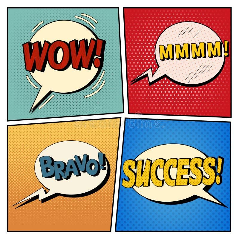 Bolhas cômicas ajustadas Expressões wow, Mmmm, bravo, sucesso ilustração do vetor
