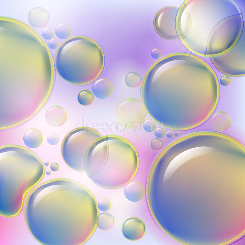 Bolhas coloridas abstratas que aumentam no fundo macio Gotas do fundo científico do óleo ou da estrutura celular ilustração stock