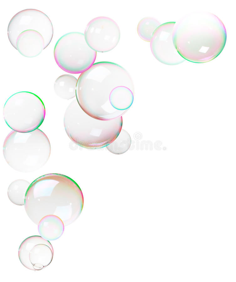 Bolhas coloridas feitas do sabão imagem de stock