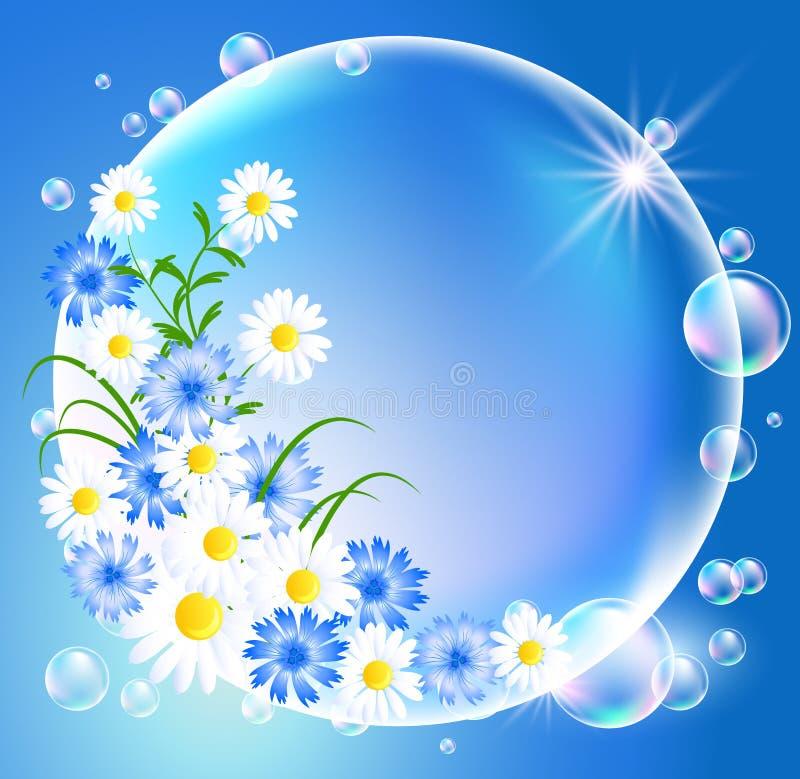 Bolhas com flores ilustração royalty free