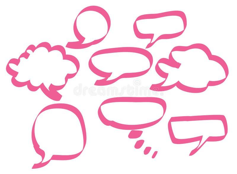 Bolhas cor-de-rosa do discurso ilustração stock