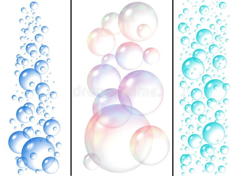 Bolhas da água e de sabão ilustração do vetor