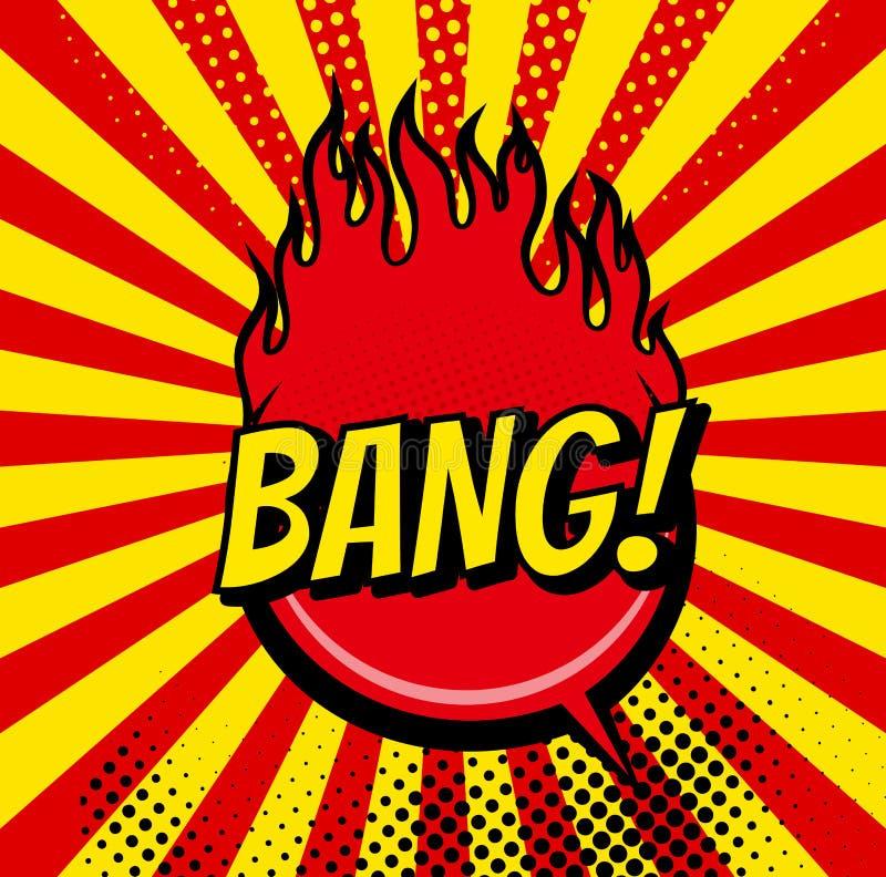 Bolhas da banda desenhada e ícones sadios das explosões com feixes do sol Bolhas do pop art dos desenhos animados do vetor da exp ilustração stock